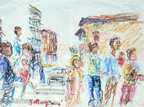 Art work by Guido Borgianni Figure - pastel paper