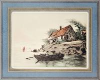 Quadro di firma Illeggibile - Barca sul lago incisione carta
