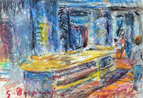 Quadro di Guido Borgianni Interno di un bar - pastello carta