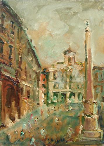 Quadro di Emanuele Cappello Scorcio cittadino - olio tela