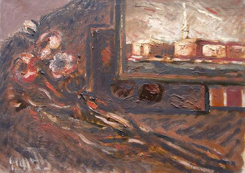 Quadro di Emanuele Cappello Composizione con sfondo veneziano - olio tela