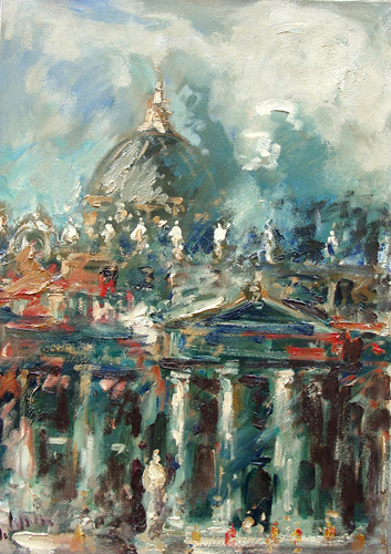 Art work by Emanuele Cappello San Pietro a Roma - oil canvas
