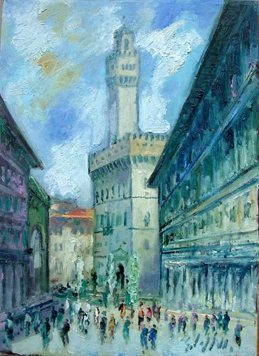 Quadro di Emanuele Cappello Palazzo Vecchio da Piazzale degli Uffizi - Pittori contemporanei galleria Firenze Art