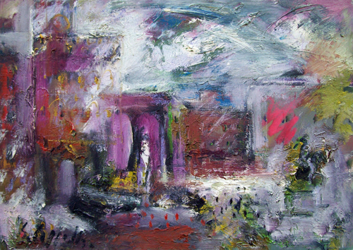 Art work by Emanuele Cappello Città informale - oil canvas