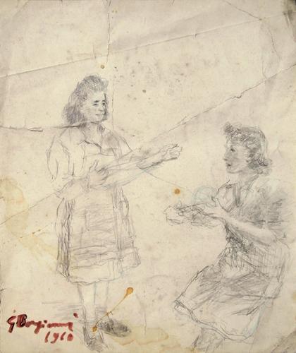 Quadro di Guido Borgianni Le filatrici - lapis carta