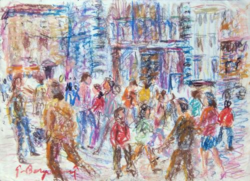 Art work by Guido Borgianni Piazza del duomo - pastel paper