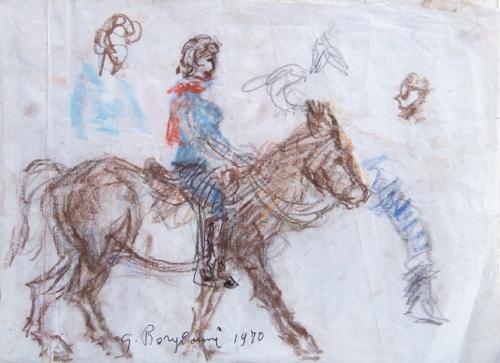 Art work by Guido Borgianni Figura a cavallo - pastel paper