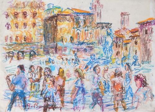 Quadro di Guido Borgianni Per le strade di Firenze - pastello carta
