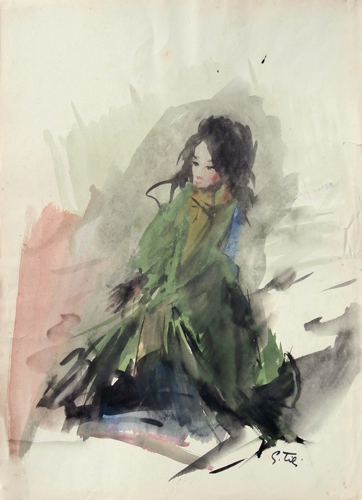 Art work by Gino Tili Il completo verde  - watercolor paper