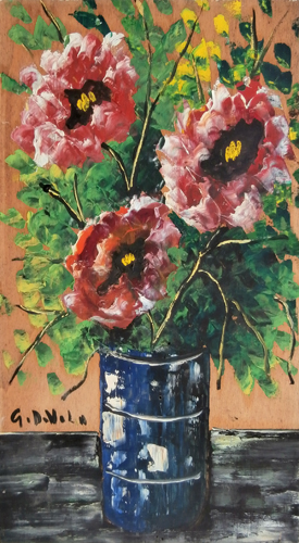 Art work by Giorgio Di Volo Vaso di fiori - oil table