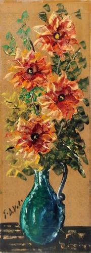 Quadro di Giorgio Di Volo Vaso di fiori - olio cartone telato