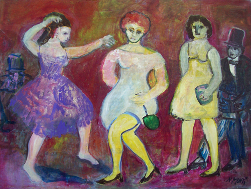 Art work by Nada Monti A una festa di femministe - oil canvas