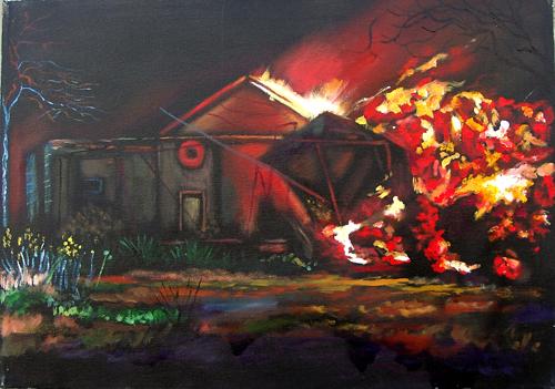 Quadro di Luigi Pignataro L'eruzione dell'Etna - olio tela