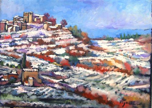 Quadro di Luigi Pignataro Paesaggio innevato - olio tela