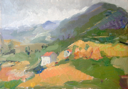 Art work by Gino Paolo Gori Verso sera in montagna - oil canvas cardboard