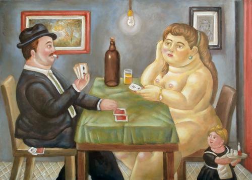Quadro di Roberto Sguanci La partita a carte - Omaggio a Botero - Pittori contemporanei galleria Firenze Art