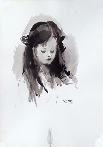 Quadro di Gino Tili Ritratto di ragazza - acquerello carta