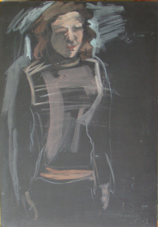 Art work by Enzo Faraoni Figura - pastel paper on table
