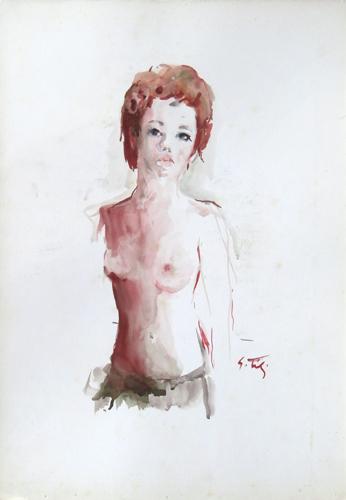 Quadro di Gino Tili Seminudo - acquerello carta