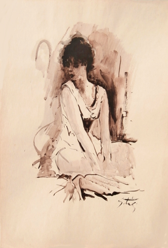 Art work by Gino Tili Figura di donna - watercolor paper