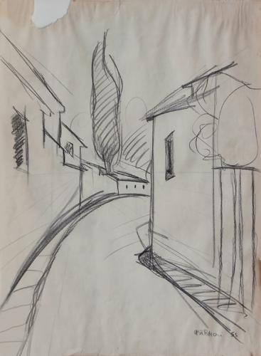 Art work by Franco Lastraioli Via San Leonardo (Firenze)  - charcoal paper