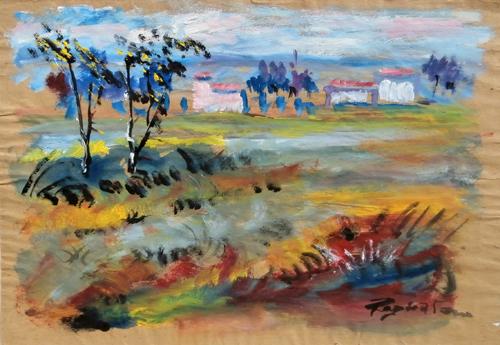 Quadro di Luigi Pignataro Paesaggio - tempera carta gialla