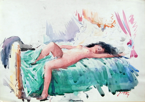 Art work by Gino Tili Donna distesa - watercolor paper