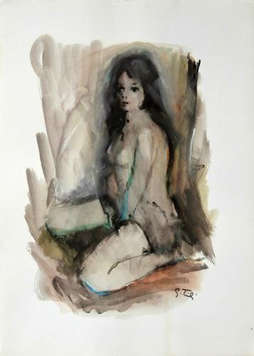 Quadro di Gino Tili Figura femminile - acquerello carta