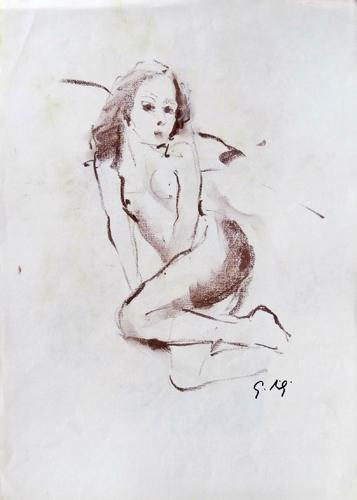 Quadro di Gino Tili Figura - pastello carta