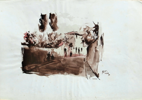 Quadro di Gino Tili Via San Leonardo (Firenze) - acquerello carta