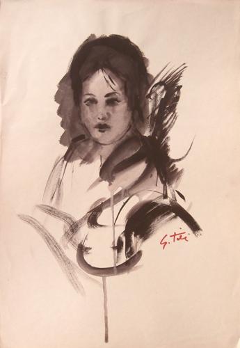 Quadro di Gino Tili Ritratto di donna - acquerello carta