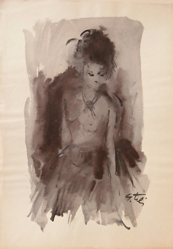 Quadro di Gino Tili Ragazza con il tulle - acquerello carta