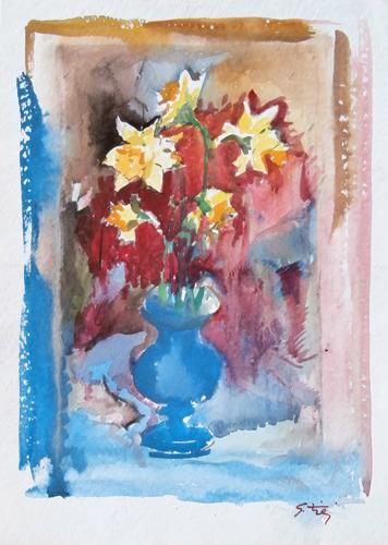 Quadro di Gino Tili Vaso con fiori - acquerello carta