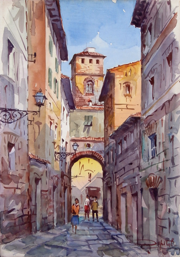 Art work by Giovanni Ospitali Vicolo - watercolor cardboard