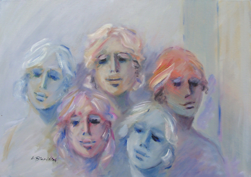 Art work by Umberto Bianchini Ragazze - oil canvas