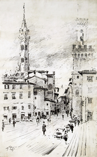 Art work by Gino Tili Piazza San Firenze - mixed paper