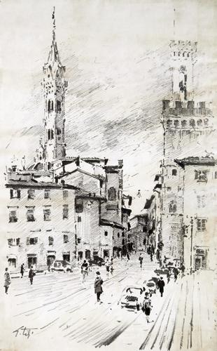 Quadro di Gino Tili Piazza San Firenze - mista carta