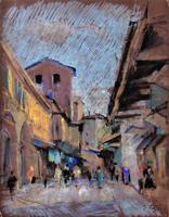 Quadro di Gino Tili  Camminando sul Ponte Vecchio