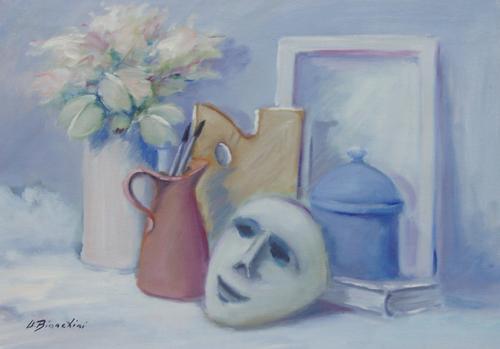 Quadro di Umberto Bianchini Composizione e maschera - olio tela