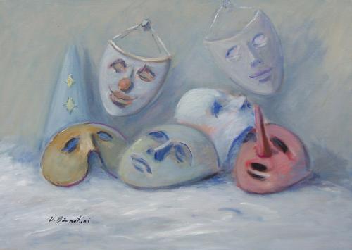 Quadro di Umberto Bianchini Maschere - olio tela