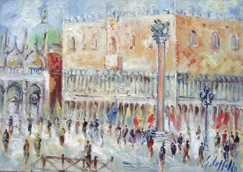 Quadro di Emanuele Cappello San Marco e Palazzo Ducale a Venezia - olio tela