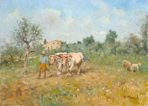 Art work by Graziano Marsili Lavoro nei campi - oil canvas
