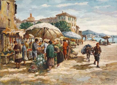 Quadro di Alessandro Monsagrati Mercato - olio faesite