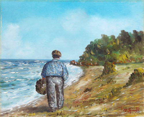 Art work by Pancrazio Spinelli Figura sul mare - oil canvas cardboard