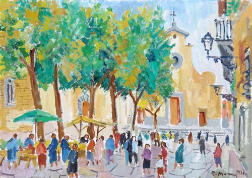 Quadro di Rodolfo Marma Piazza Santo Spirito - olio tela