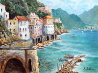 Quadro di Rossella Baldino - Costiera di Amalfi olio compensato