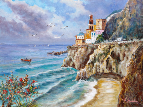 Art work by Rossella Baldino Spiaggia di Amalfi - oil table