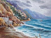 Quadro di Rossella Baldino - Spiaggia di Positano olio tavola