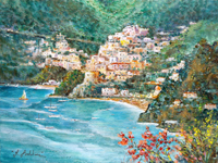 Quadro di Rossella Baldino - Positano dal mare olio compensato