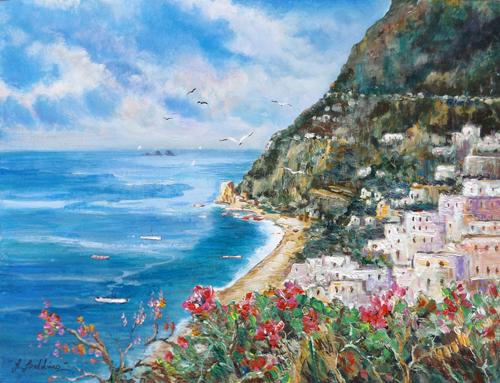 Art work by Rossella Baldino Veduta di Positano - oil table